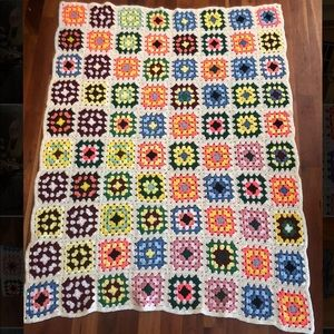 Other - Vintage Granny Square Afghan Throw/Blanket